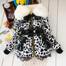 2014 Autumn Winter Wear Clothes 1Pcs Girls Leopard Faux Fur Collar Coat with Bow Baby Children Outerwear Jacket Free Shipping