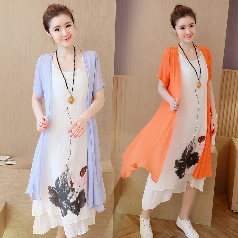 The new folk style short sleeved loose elegant two piece suit dress in long cotton dress(China (Mainland))