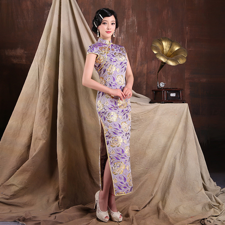 Chinese traditional dress 2015 Autumn long cheongsam bronzing etiquette clothing Chinese dress qipao fancy cheongsam Genuine(China (Mainland))