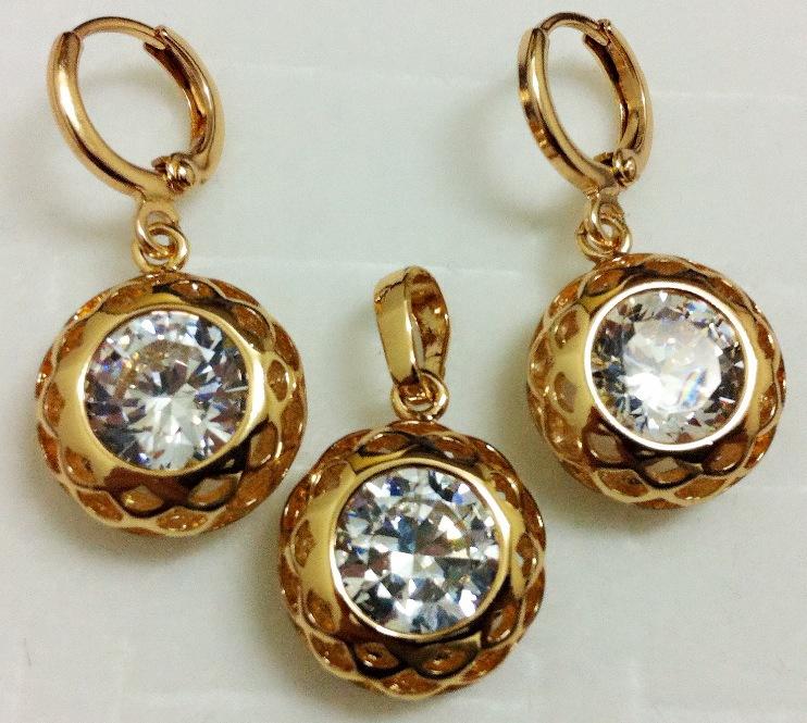 1set 14K gold filled white cubic zirconia Exquisite hollow woman necklace+pendant+earring Jewelry set Accessoies - ANN' Shop store