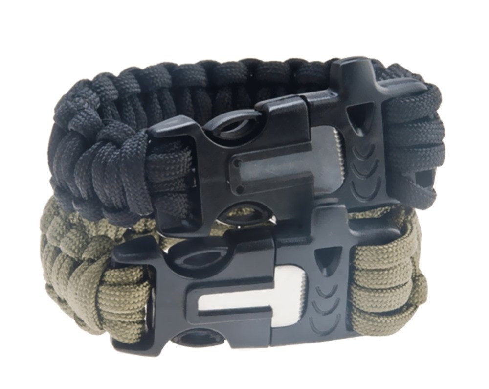 """9"""" Outdoor Camping Hiking Survival Bracelet Kits Paracord Cord Wristbands Emergency Rope Gear Whistle Flint Fire Starter Scraper(China (Mainland))"""