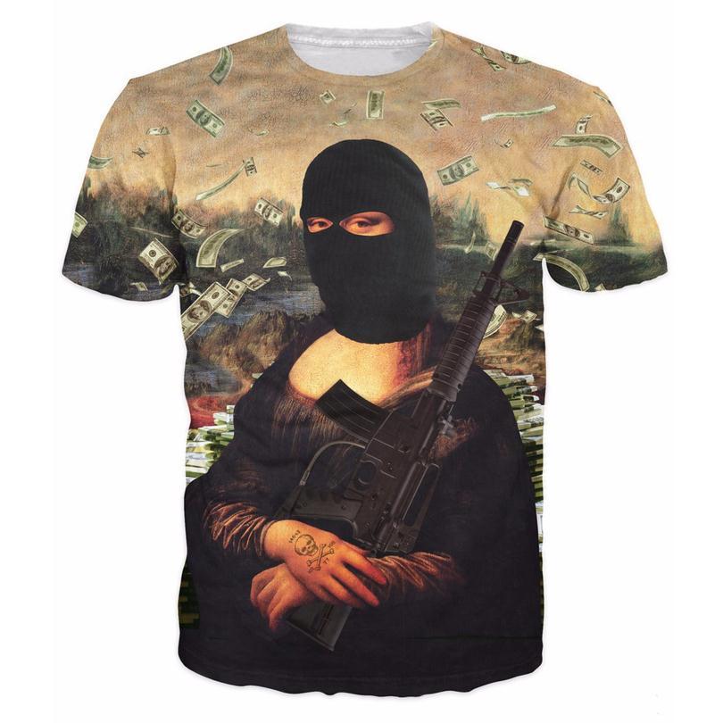 Ynm gangster mona lisa t shirt 3d funny print dollars t for 6 dollar shirts coupon code free shipping