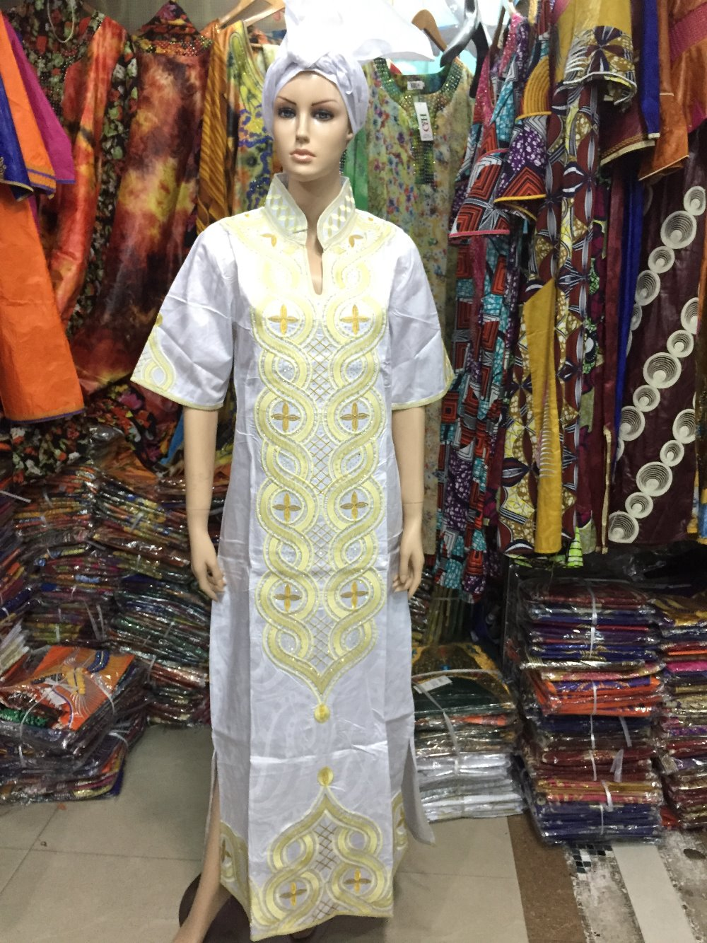 design Africa bazin clothes lady dress Rich embroidery( )S2405-1 - H&D rich Bazin store