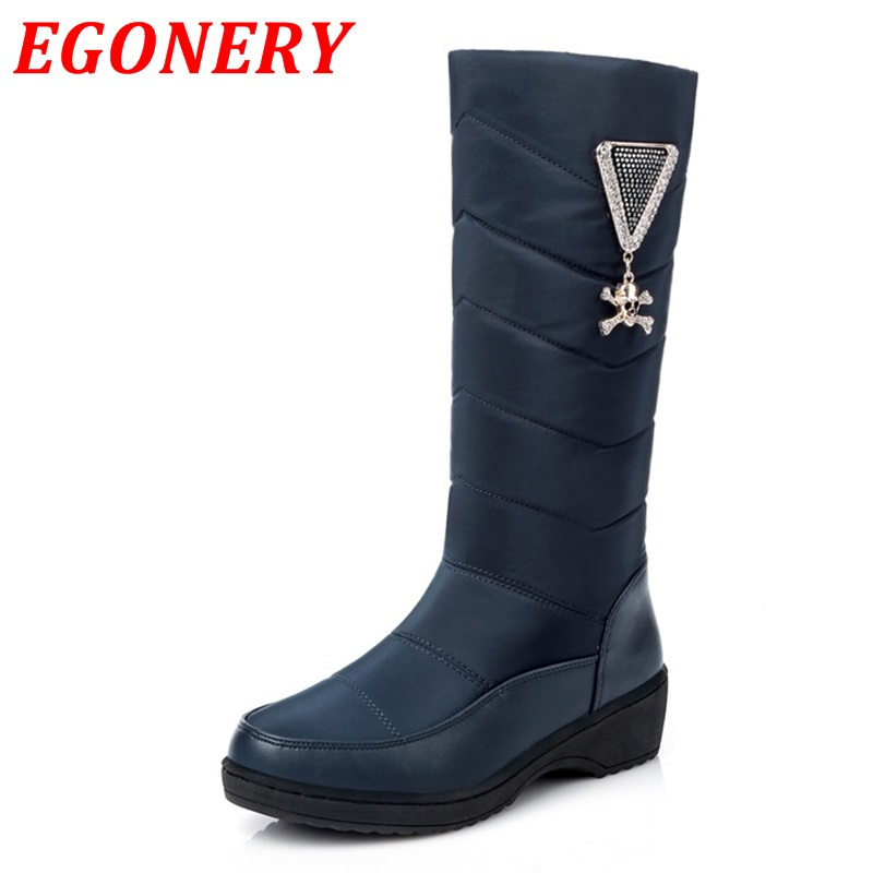 new arrival winter warm plush snow boots women mid calf boots fashion lady pu and down mid calf knee high boots shoes for women(China (Mainland))