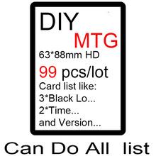 Diy 99 unids por juego mágico, proxy mtg tarjeta, el león recomendar, reunión preestablecido, bfz, holograma, doble tierras, p9, cilindro azul(China (Mainland))