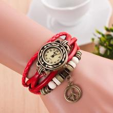 2015 Fashion Punk Style Women Watches Round Pendant Vintage Leather Band Wristwatch Drop Shipping WH 077