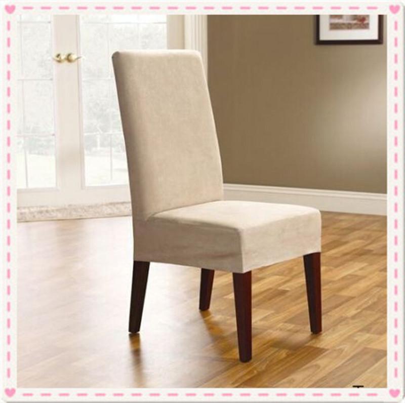 100PCS Surefit Soft Suede Short Dining Chair Cover Covers