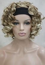 New Fashion 3/4 Wig With Headband short Curly Women's Half Wigs free shipping(China (Mainland))