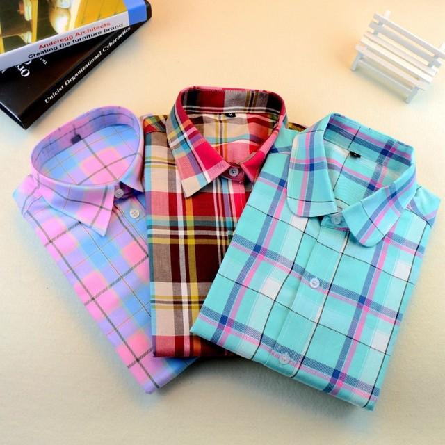 Hot Женщины Plaid Blouse Shirt Blusa Ladies Верхs Длинный Рукав Blouse Camisa FeМиниna ...