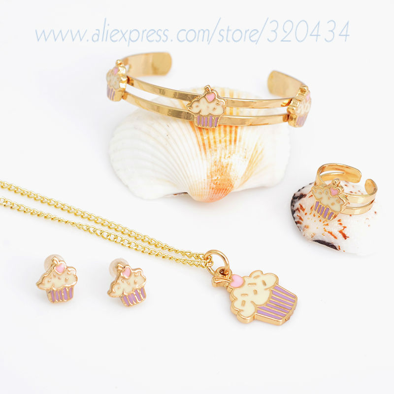 Gold Plated Baby Bracelet Necklace Set Children Jewelry Bridal Party Gift For Kids/Ice-cream Jewelry,Free shipping A726(China (Mainland))