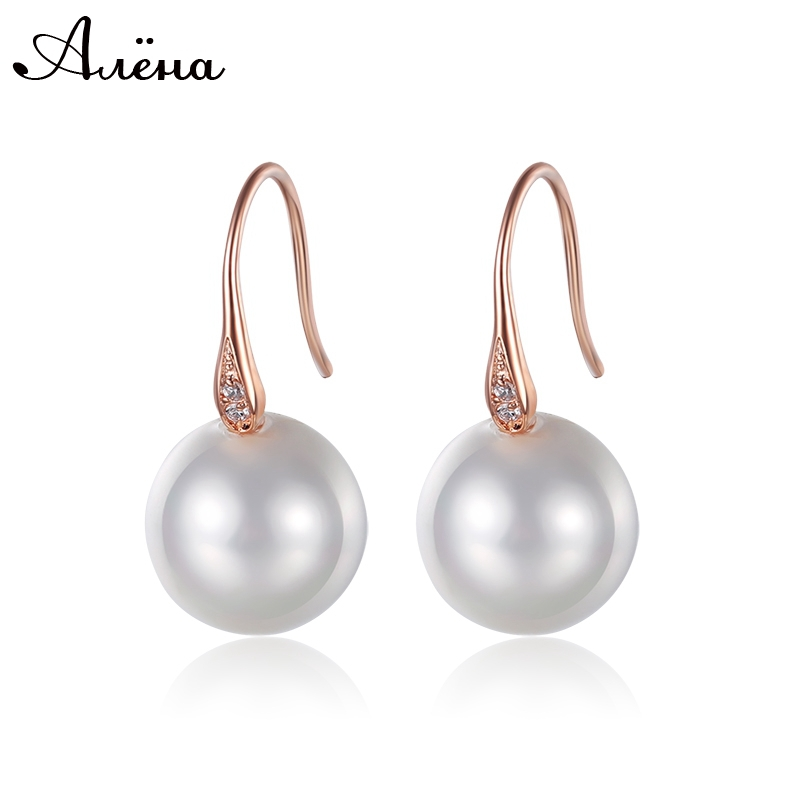 Freshwater Pearl Drop Earrings Crystal Rhinestone Silver Plated And 18K Rose Gold Fashion Hanging Short Pearl Dangle Earrings<br><br>Aliexpress