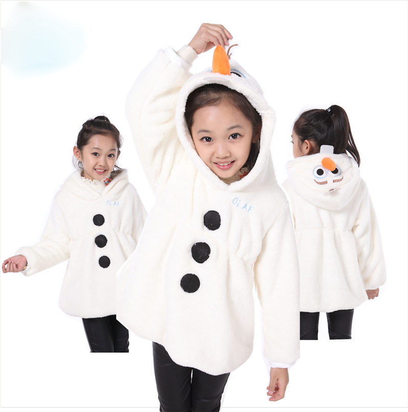 New Hot Sale Girl Olaf Jacket Children Cartoon Hoodies Kids Snowman Coats Winter Jackets Outerwear Clothes Casual Costume