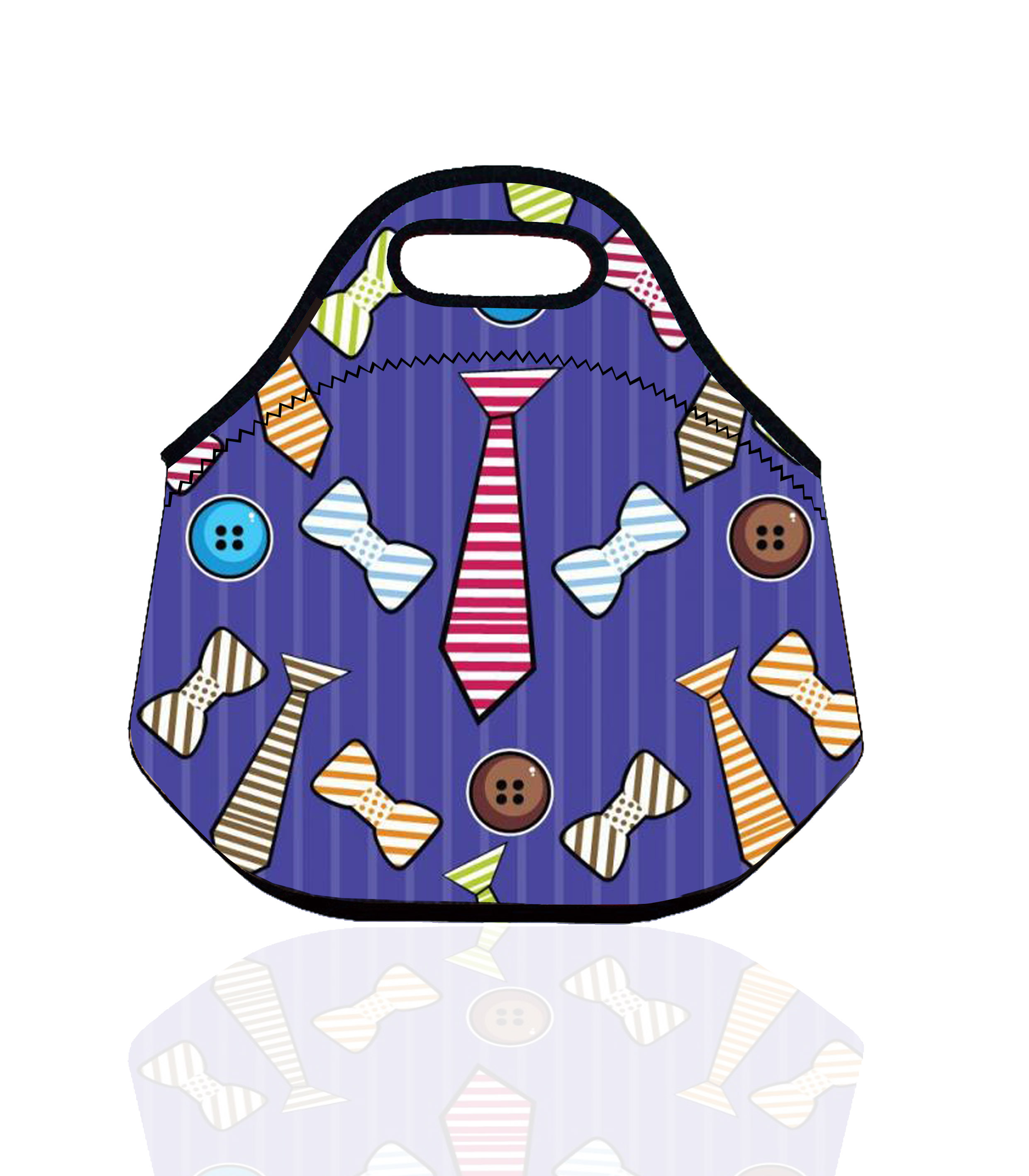 Bone and Tie Pattern Neoprene Thermal Insulated Lunch Bag for Women Kids storage bag Tote lunch Box Insulation Bag bolsa termica(China (Mainland))