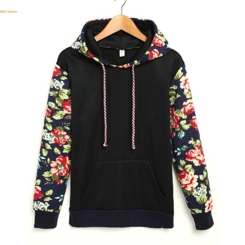 Women Hoodies Sweatshirts 2016 Autumn Winter Woman Tracksuit Vintage Floral Print Pullover Women Print Hoodies Jogging Femme(China (Mainland))