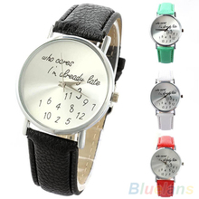 "Women Watch ""Who Cares"" Faux Leather Band Quartz Date Round Dial Analog Wrist Watch"