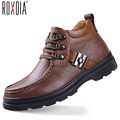 Big size genuine leather man work boots men warm snow boot fur velvet lace up man