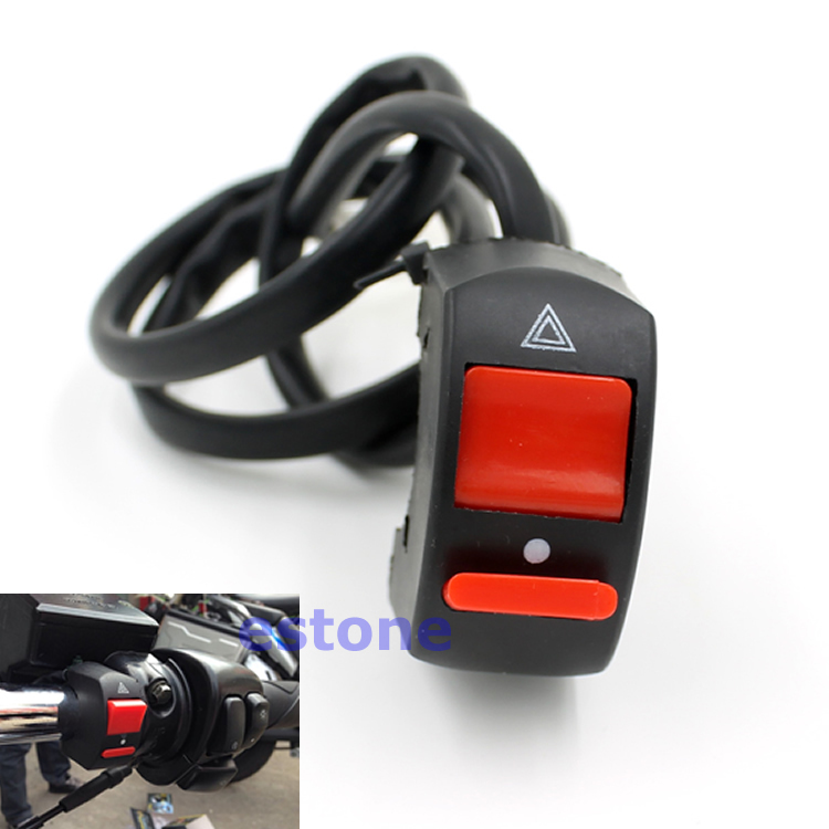 Free Shipping Universal 12V Motorcycle Handlebar Accident Hazard Light Switch ON OFF Button