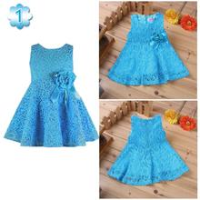 Summer New Girls Dress/elegant Princess Dress With Flower/fashion Lace Dress(China (Mainland))