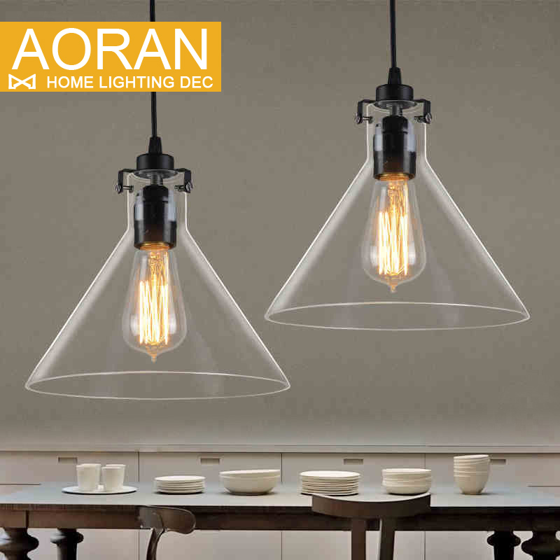 Retro Vintage Pendant Lights Clear Glass Lamshade Loft Pendant Lamps E27 110V 220V for Dinning Room Home Dcoration Lighting(China (Mainland))