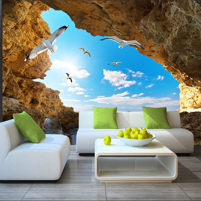 wall mural custom 3d wallpaper for walls seagull photo wallpaper. Black Bedroom Furniture Sets. Home Design Ideas