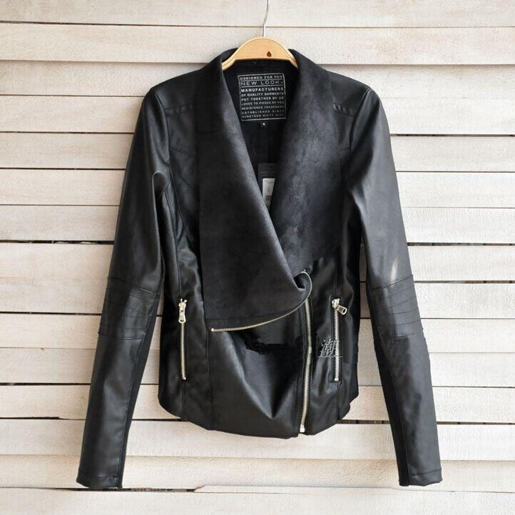 2014 New Brand Autumn Winter European Style Causal UK 6XL Plus Size Large Size Ladies Short PU Leather Zipper Black Jackets(China (Mainland))