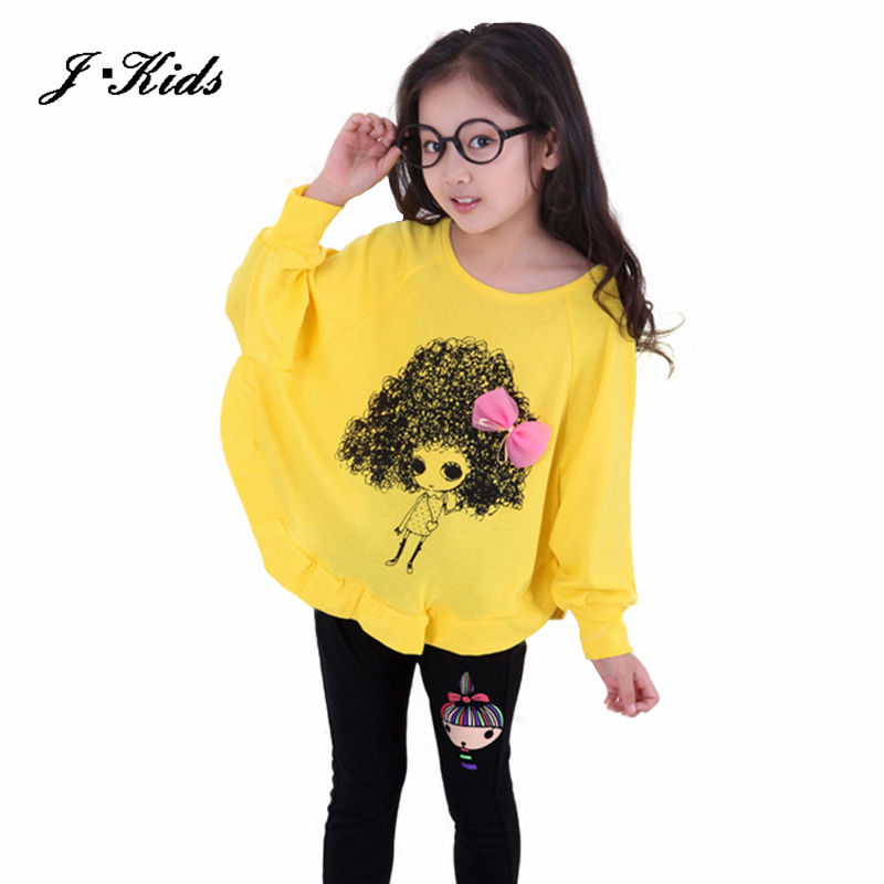 2015 New 3-10T spring and autumn children clothing sets fashion cotton child sets girls long-sleeve T-shirt + legging set<br><br>Aliexpress