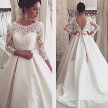 Buy Long Sleeve Lace Wedding Dresses Backless Satin Line Wedding Gowns Weding Bridal Bride Dresses Weddingdress robe de mariage for $159.30 in AliExpress store