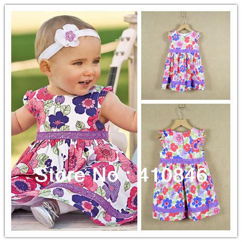 100% Cotton Dress for baby girls Hot sale flower print dress Beautiful Shivering Dresses 5 pcs lot BS1016
