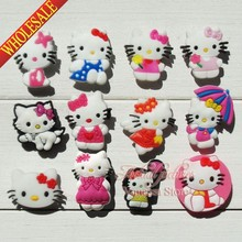 Cartoon Hello Kitty KT 24pcs/lot shoe decoration/shoe charms/shoe accessories fit croc & shoe with holes & bands Kids best gift(China (Mainland))
