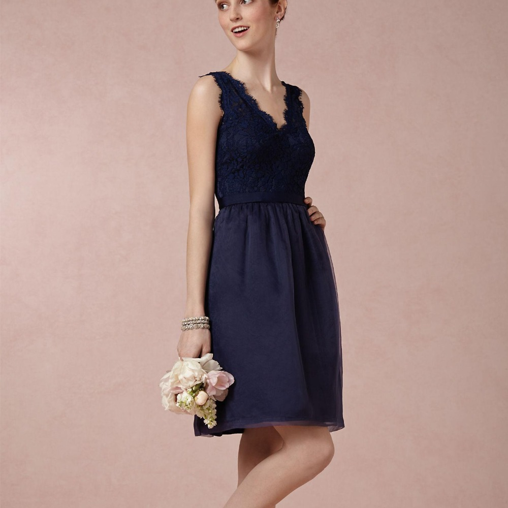 2015 bridesmaids dress navy blue lace party dress short for Country dresses for wedding guest