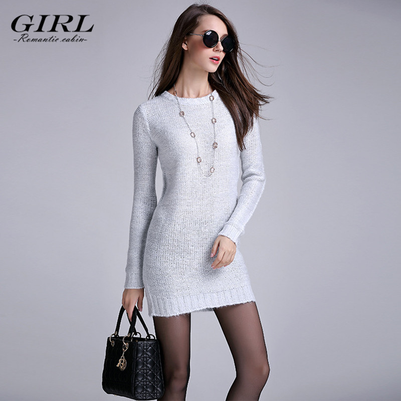 Autumn in 2015, the new women's knitwear, hand needle woven fashion round collar sweater, in the long sweater.(China (Mainland))