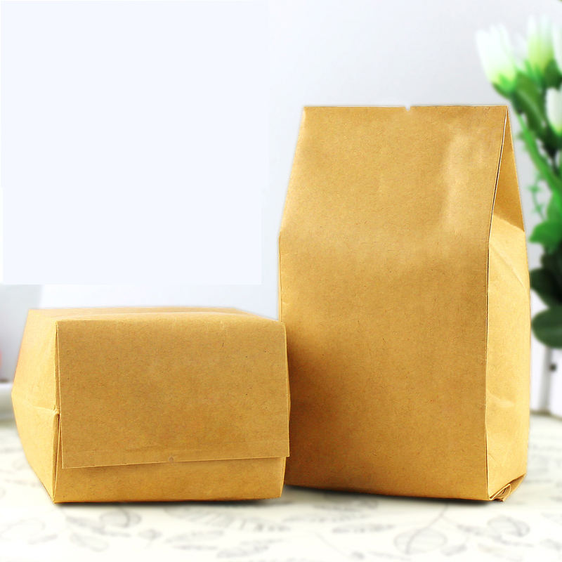 100pcs/lot 9cm*22cm+7cm *120micron High Quality Kraft Paper Oragan Bags Tea Packaging Bag Coffee Stand Up Bags(China (Mainland))