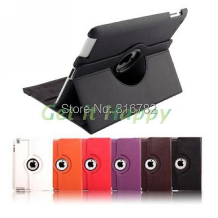 360 degree rotating swivel stand magnetic PU leather case smart cover smartcover for new ipad 4 ipad 3 ipad 2 (10 colors option)(China (Mainland))