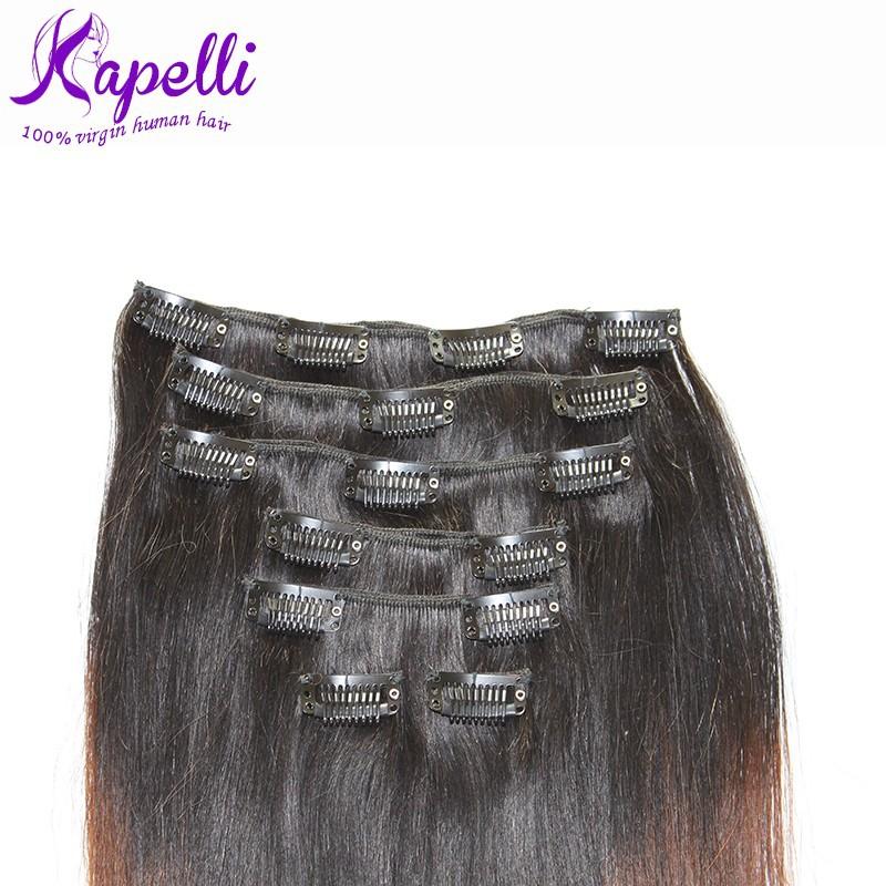Pre-bonded Brazilian Virgin Hair Clip in Extensions Human Hair Fusion Hair Clip in Weft Big Sale Human Hair Clip in Extensions