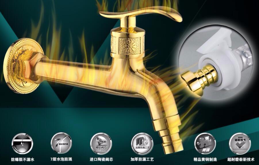 Купить 2015 высокое качество Золотой всего латунь однорычажный ванная комната стиральная машина кран раковина кран сад смеситель открытый кран
