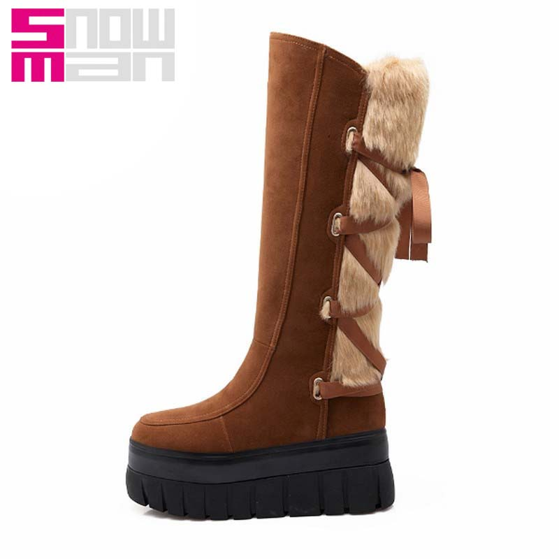 Brand Ribbons Lace up Fur Snow Boots Platform Snow Shoes Woman Warm Shoes Winter Boots 2015 Thick Sole Wedges Knee High Boots