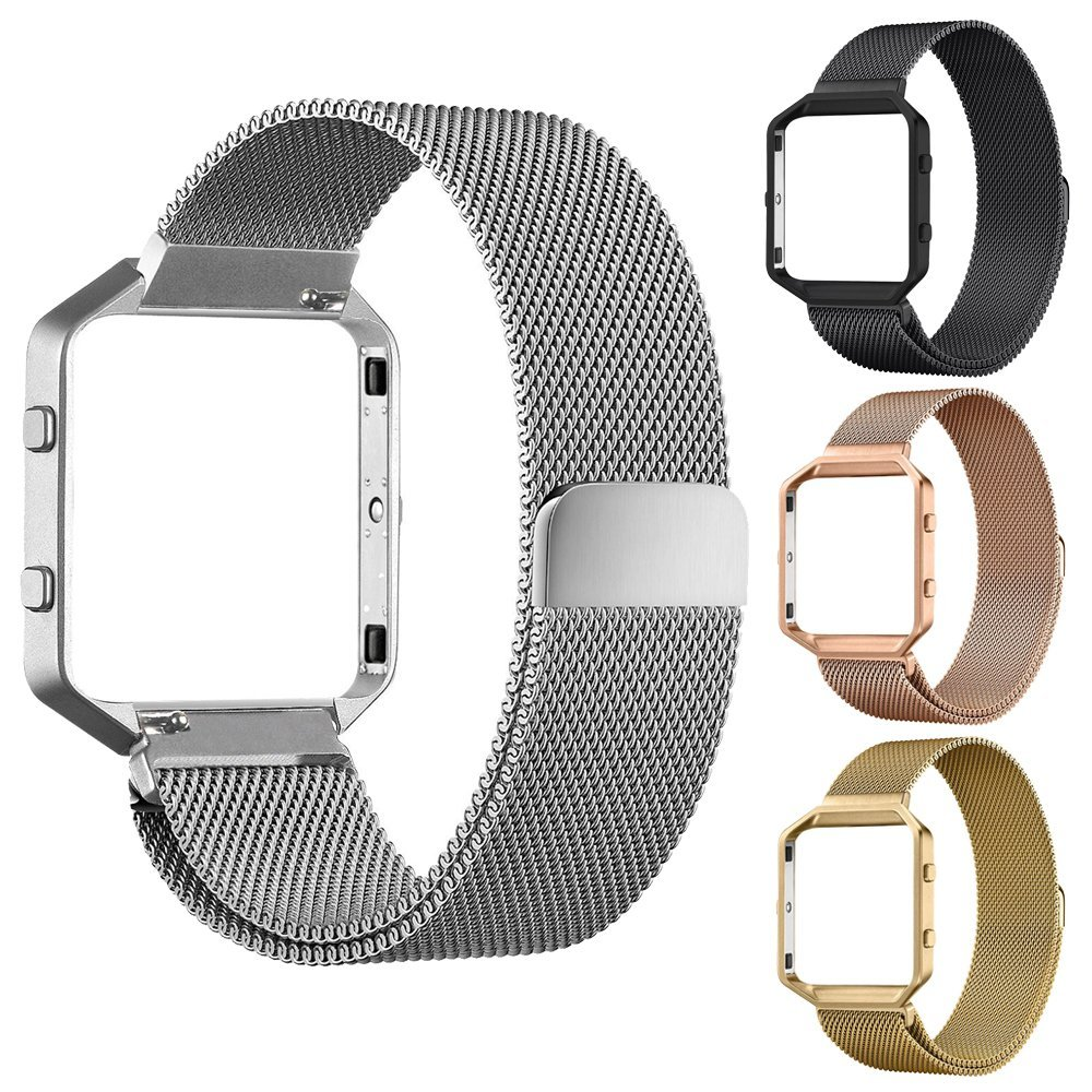 Four Colors Stainless Steel Magnetic Closure Milanese Strap with Metal Frame Case Connect Case for Fitbit Blaze FBBZMLCC(China (Mainland))