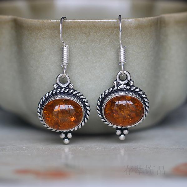 Sterling Silver Thailand India Nepal Manual Mosaic Amber Pearl Earrings Eardrop Retro Female Flower<br><br>Aliexpress
