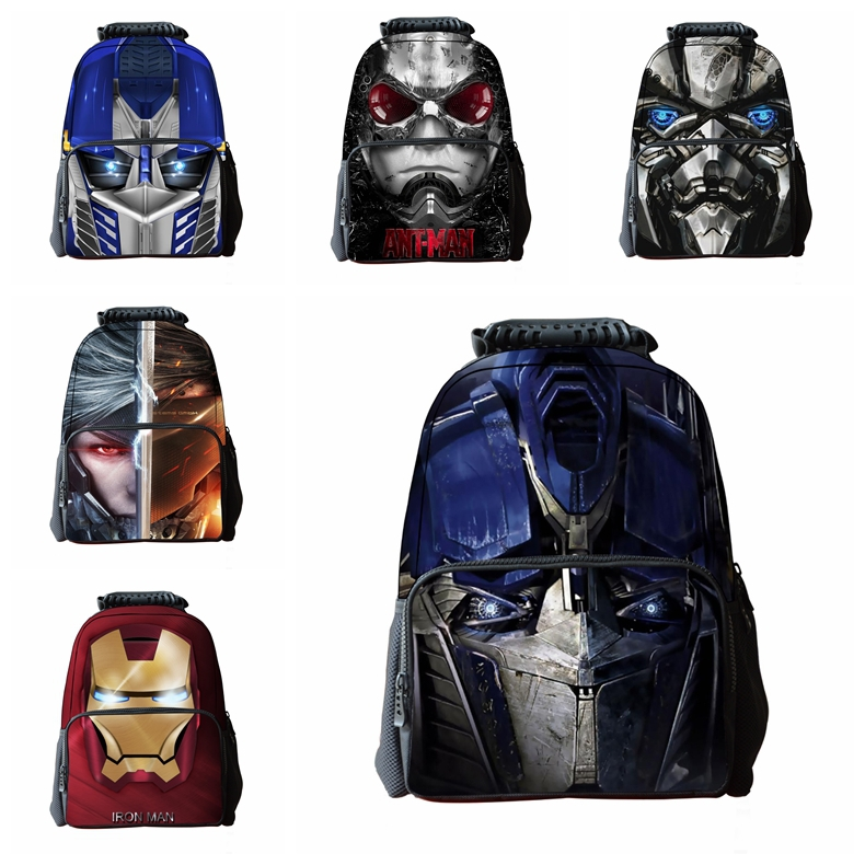 2015 New Transformers Ant-Man Backpack For Boys Fashion 3D Cartoon Print Schoolbags For Kids Cute Children's School Knapsack(China (Mainland))