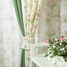 Korean style Printed flower Splice color Decorative Blackout curtains fabric tulle Window Treatment for Bedroom/Living Room(China (Mainland))