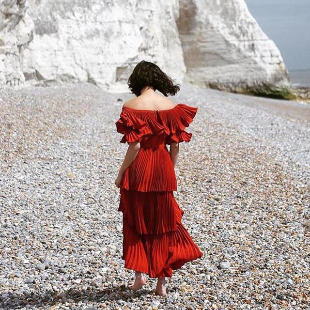 Sp одеваться 2016 предложение плеча slash шеи красный длинные платья женщин