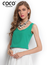 summer style 2015 Women Fashion Tops Clothing New Desigual Sleeveless O Neck Casual Elegant Chiffon tank