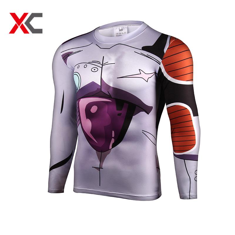 Anime Dragon Ball Z Vegeta Super Saiyan Goku Piccolo 3D T Shirt Men Costume Sport Gym Fitness Tee T-Shirt Long Sleeve Jersey(China (Mainland))