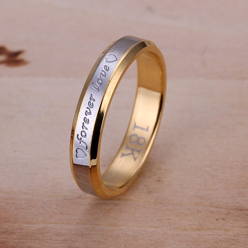 R096 Factory Price High Quality Free shipping silver forever love ring fashion jewellry 18K gold golden