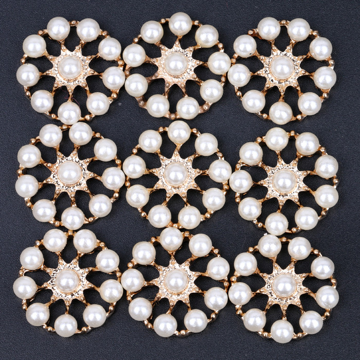 Round Pearl Buttons For Hair Accessories Embellishment Gold Metal Button With Flatback For Hairband 50PCS/LOT(China (Mainland))