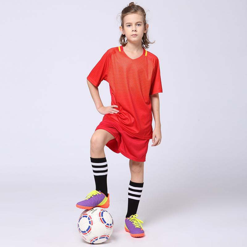2017 Boys Blank Soccer Sets Girls Survetement Football Jerseys Youth Kids Team Uniforms Training Suits Chinese Red T-shirts Kits(China (Mainland))
