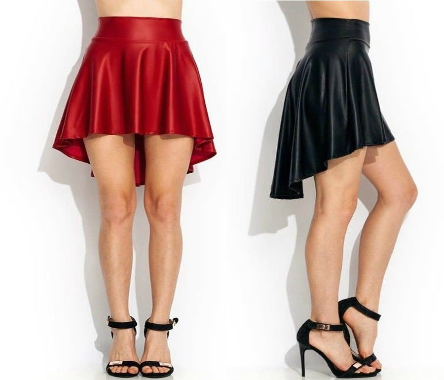 faux leather black skirts trendy casual