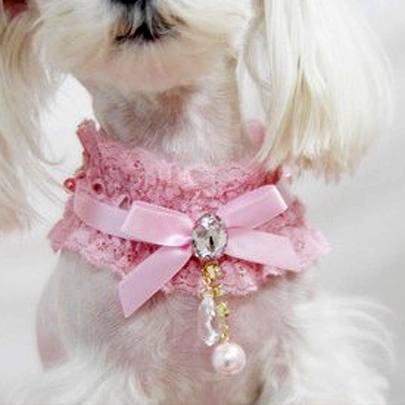 New Pet Cat Dog Lace Pearl Pendant Collar Princess Necklace Neck Dog Necklace Collar Pink(China (Mainland))
