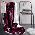 Beddom Blanket Excellent Snowflake Print Burgundy Soft Flannel Blanket Sofa Air Bedding Throw Home Decorative 180