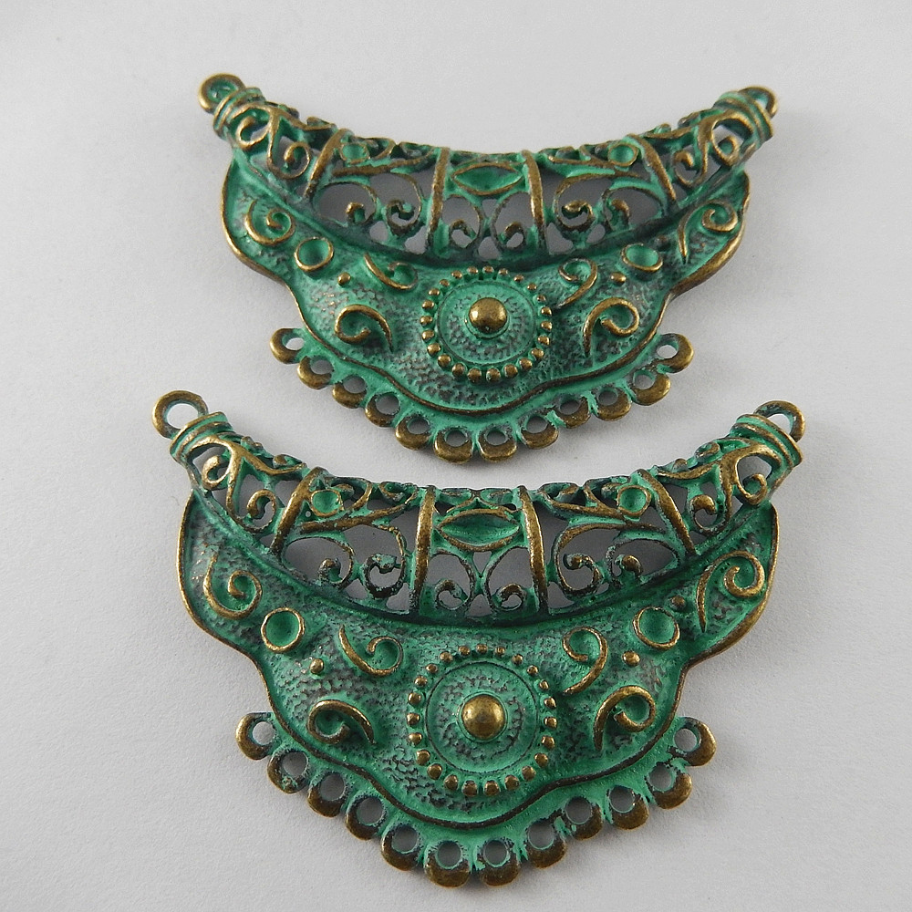 GraceAngie 5pcs Antiqued Green Bronze Tone Alloy Fashion Charm Connector Decor Jewelry Necklace Accessories Hot 67*45*6mm 52016